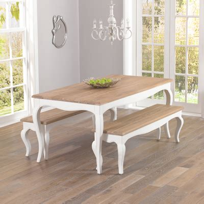 Seville Ivory Painted Distressed Dining Table With 2 Ivory Painted Dining Table