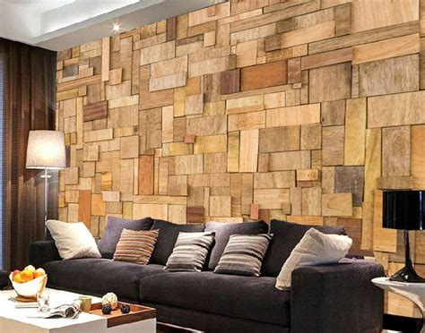 3d stacking wood mosaic wall murals wallpaper decal decor