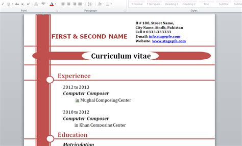 Modele Cv Word 2015 by Doc Mod 233 Le De Cv 2015 Gratuit Word Stagepfe