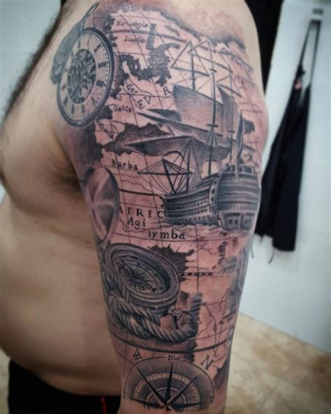 nautical half sleeve tattoos 50 amazing ship tattoos you won t believe are real