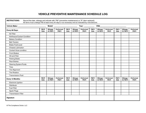 fleet maintenance schedule template vehicle preventive maintenance schedule log automotive