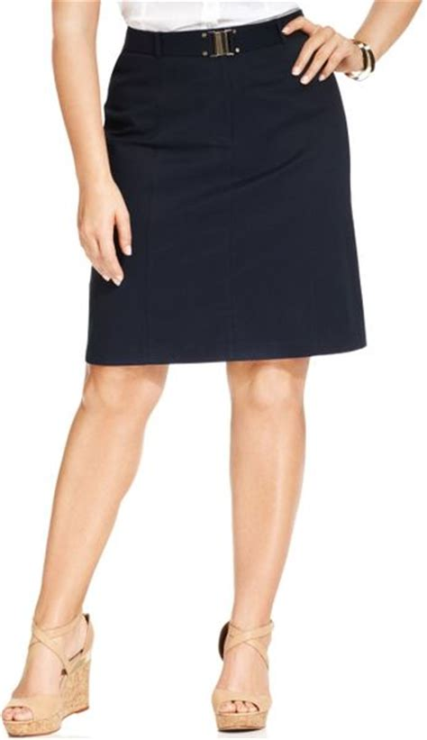 jones new york signature plus size belted pencil skirt in