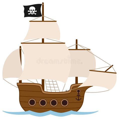 pirate boat clipart pirate ship or sailing boat stock vector illustration of