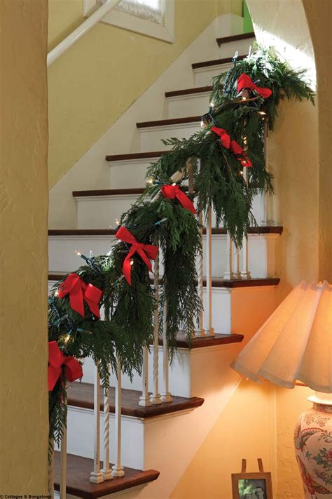 banister decor 58 best christmas staircase banister holiday decorating