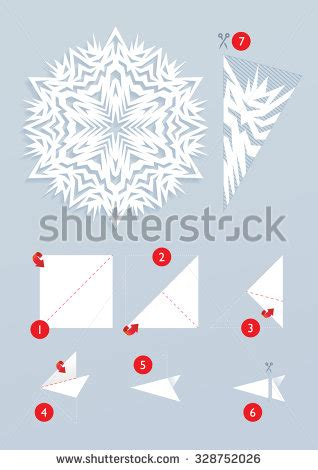 Origami Snowflake Easy - snowflake origami tutorial how cut beautiful stock vector