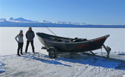 fan boat on ice drift boat on ice expedition broker