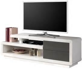 salon meuble tv laqu 233 blanc et gris 224 2 tiroirs pas