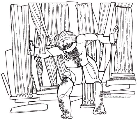 samson coloring page samson brings the house color the bible