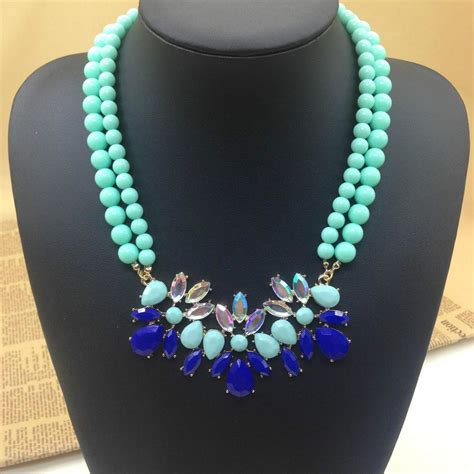 make fashion jewelry mint green turquoise flower fashion choker necklaces
