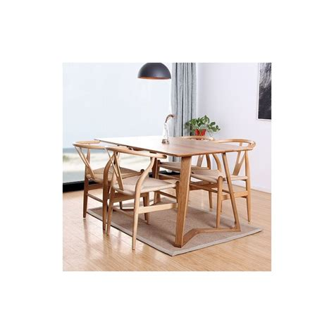 modern solid wood dining table with four dining chairs set