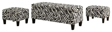zebra print storage bench coaster upholstered storage bench and ottomans in zebra