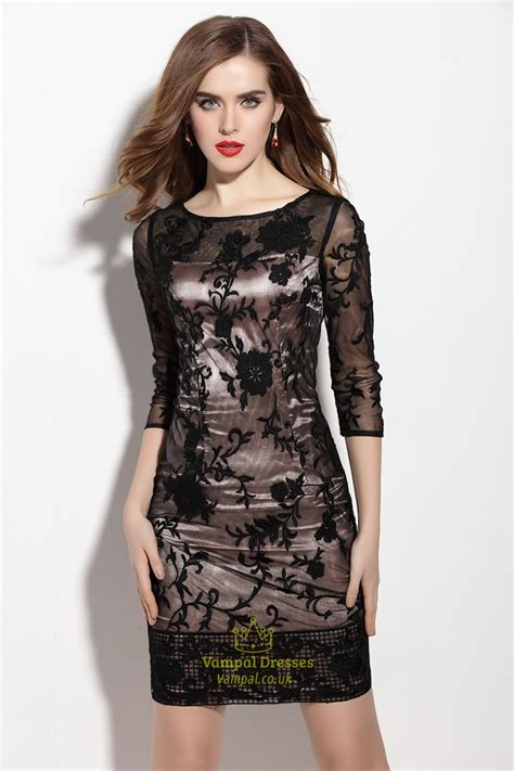 Sleeve Sheath Lace Dress black lace overlay sheath cocktail dress with 3 4 sleeves