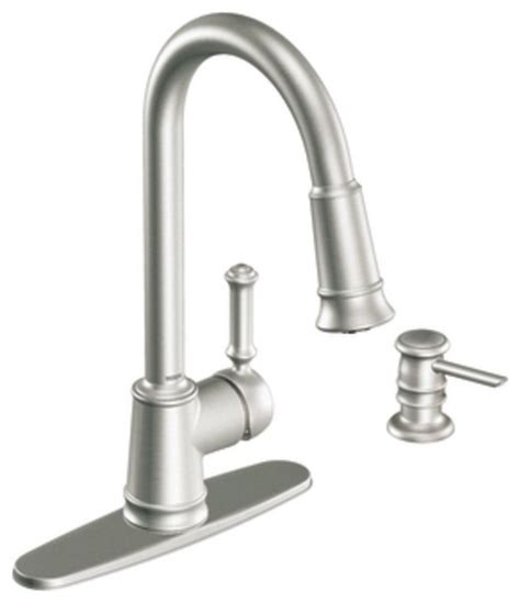 moen kitchen faucet with soap dispenser moen 87012srs lindley single handle pullout kitchen faucet