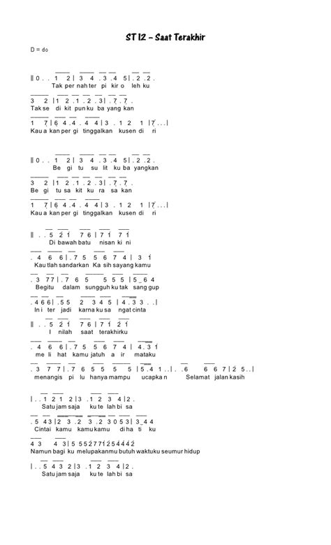 tutorial gitar saat terakhir kumpulan not angka not angka st 12 saat terakhir