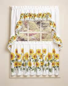 3 Inch Rod Pocket Valances Sunflower 3 Piece Kitchen Curtain Tier Set Curtainworks Com