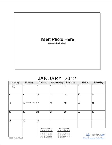 personalized calendar template photo calendar template create a printable photo calendar