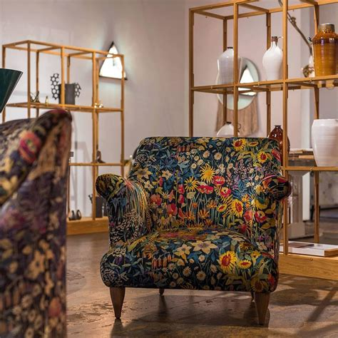 liberty armchair goddard armchair in liberty faria flowers marigold velvet for sale at 1stdibs