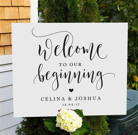 Welcome To Our Beginning Sign Printable Wedding Welcome Sign Welcome To Our Wedding Welcome Welcome To Our Wedding Template