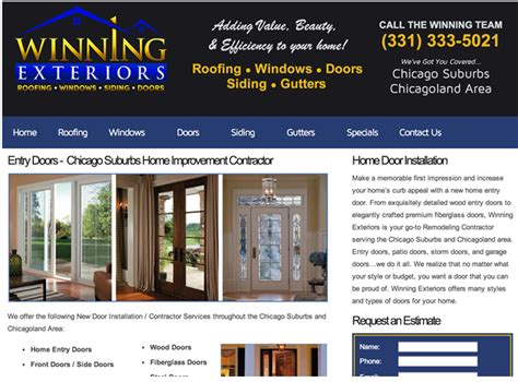 best home improvement websites winning exteriors website chicago il contractorweb
