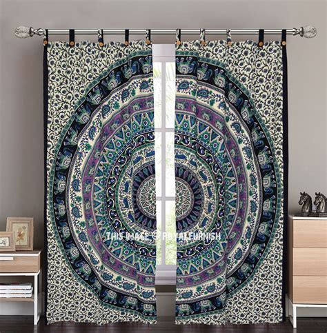 tapestry curtains sale royal plum bow medallion hippie tapestry curtain panel