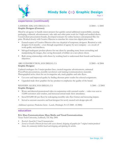 graphic designer page2 designer resume sles