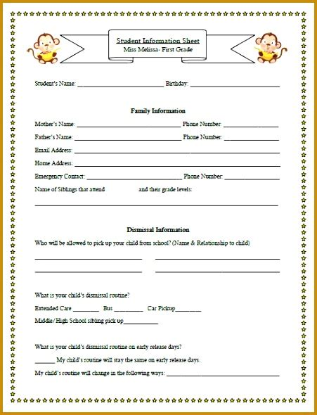student information sheet template for teachers 5 student information sheet template for teachers