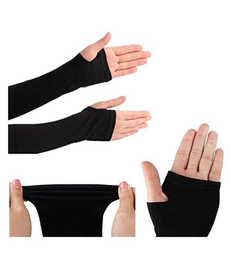 Fingerless Arm Sleeves rrc black fingerless arm sleeve 1 pair with thumb for