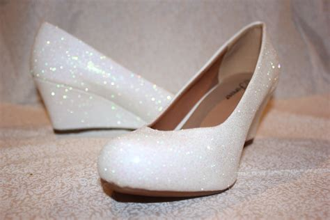 White Wedge Bridal Shoes by White Glitter Bridal Shoes Wedding Wedges