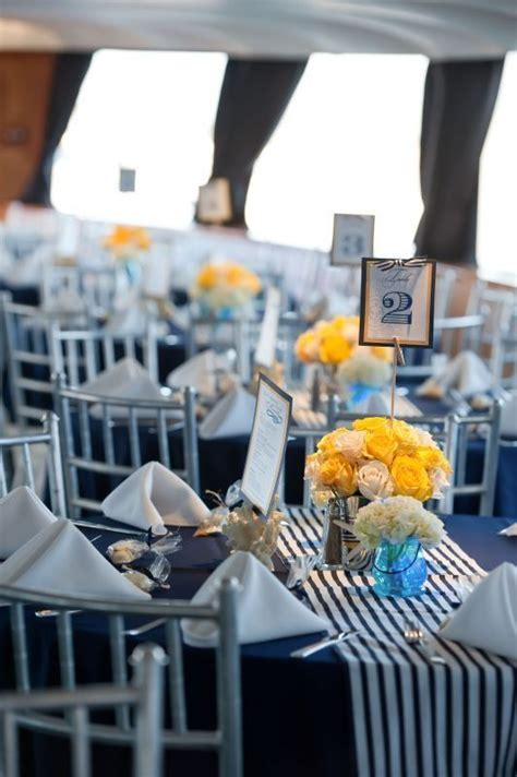 blue table with blue white stripes table runner