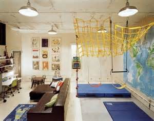 cool kids basement playroom ideas with brown sofa and
