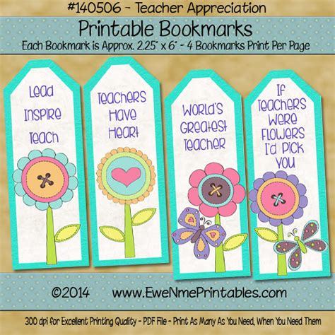 printable bookmarks for volunteers printable bookmarks pdf file teacher appreciation flowers
