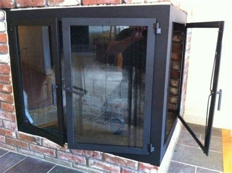 custom corner fireplace doors  iron   custommadecom