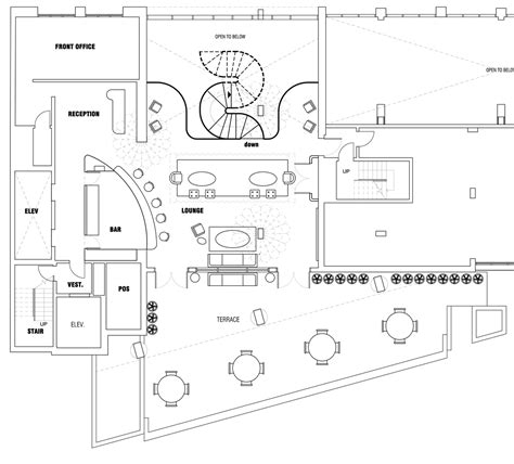 lounge floor plan roundabout hotel foster cranz archinect