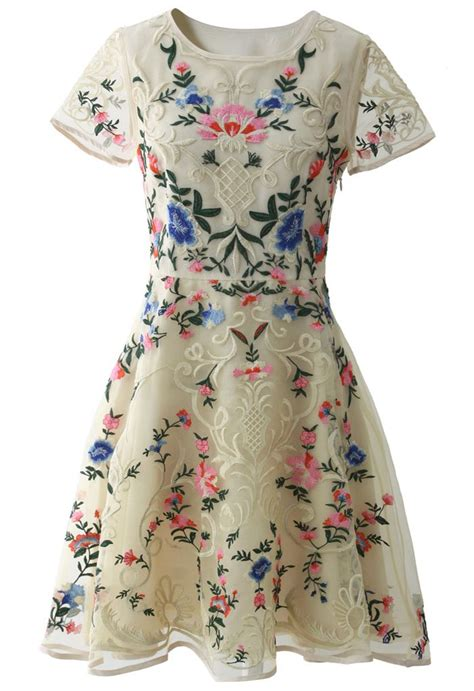 Garden Embroidered Dress Garden Embroidered Beige Organza Dress Style