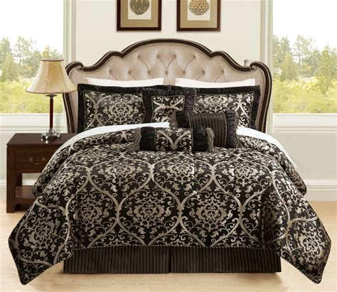 7 piece queen prague jacquard black and gold comforter set