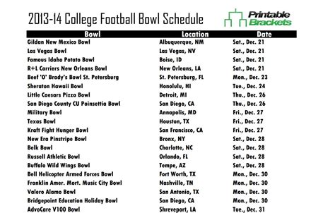 printable bowl games college football bowl schedule 2013 bowl schedule