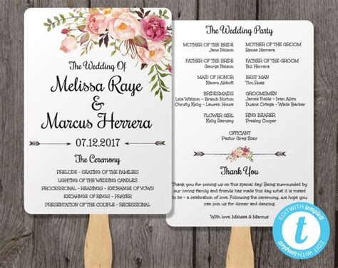 Wedding Program Fan Template Bohemian Floral Instant Download Edit In Our Web App Right In Celebrate It Templates For Wedding Programs
