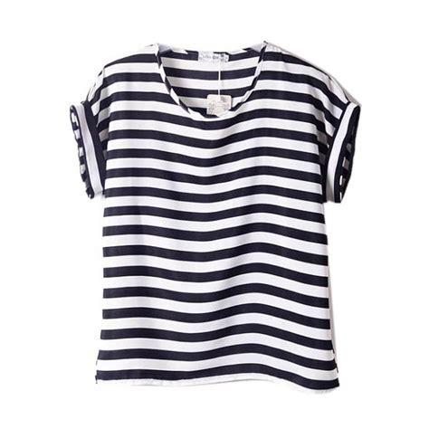 Baju Top Blouse Motif Striped Black White New Modis Impor new chiffon t shirts tops sleeve t shirts striped lip in t