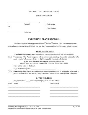 co parenting agreement template parenting plan fill printable fillable blank