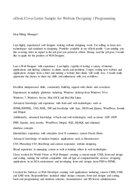 Soa Tester Cover Letter by Odesk Cover Letter Sle For Website Designing Or Programming