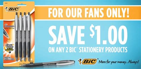 new bic stationary product printable freebies at staples new 1 2 bic stationery products coupon facebook hip2save