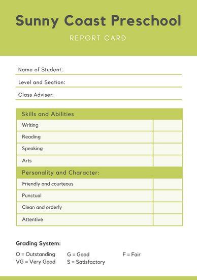 kindergarten report card template pdf report templates canva