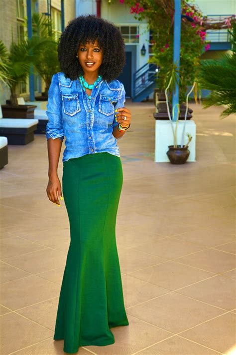 style pantry wash denim shirt fitted maxi skirt