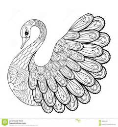 Hand Drawing Artistic Swan For Adult Coloring Pages In Doodle Stock  sketch template