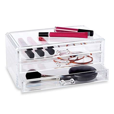 clear makeup organizer with drawers buy clear 3 drawer cosmetic organizer from bed bath beyond