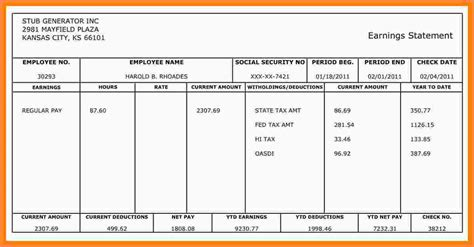 Independent Contractor Pay Stub Template Salary Slip Template Independent Contractor Check Stub Template