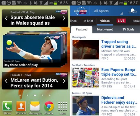 news widgets for android eurosport for android leading source for eurpean sports