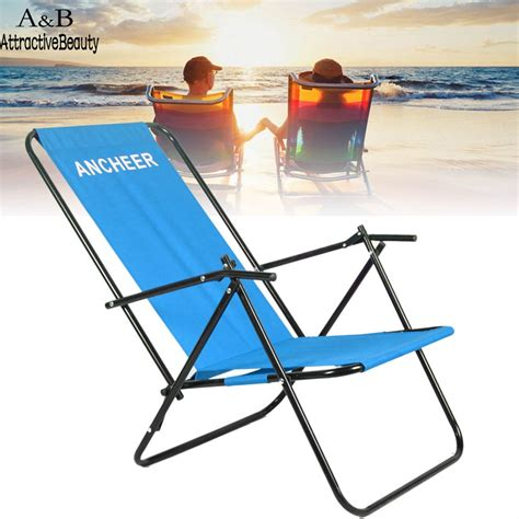 portable reclining beach chair ancheer portable chair outdoor furniture cing folding