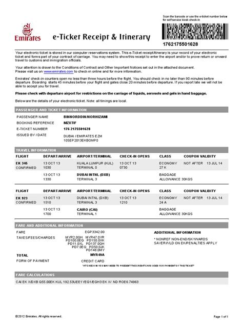 emirates ticket emirates e tickets exle