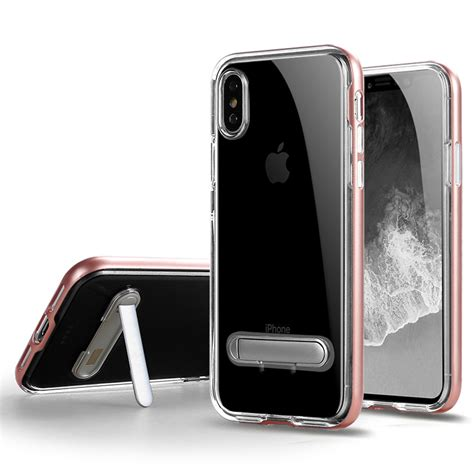wholesale iphone xs max clear armor bumper kickstand gold